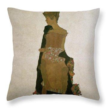 Gerti Schiele Throw Pillow by Egon Schiele