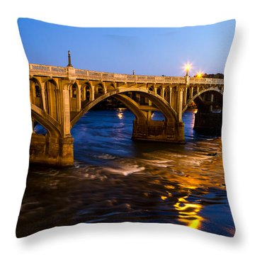 Gervais Street Bridge At Twilight Throw Pillow