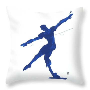 Gesture Brush Blue 2 Throw Pillow by Shungaboy X