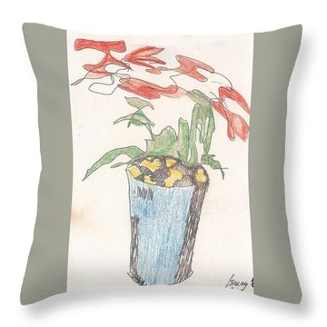 Throw Pillow featuring the drawing Gesture Drawing Of Poinsettia by Rod Ismay