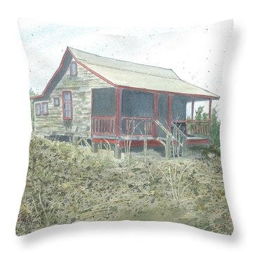 Throw Pillow featuring the painting Get Away Cottage by Joel Deutsch