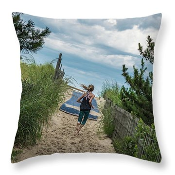 Get To The Beach Throw Pillow