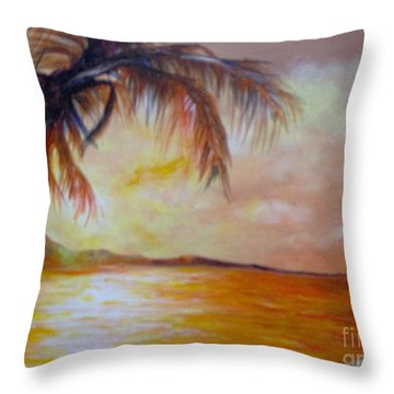 Throw Pillow featuring the painting Getaway by Saundra Johnson