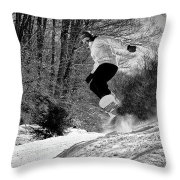 Throw Pillow featuring the photograph Getting Air On The Snowboard by David Patterson