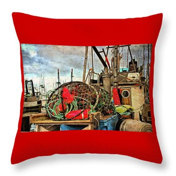 Throw Pillow featuring the photograph Crab Rings On Deck by Thom Zehrfeld