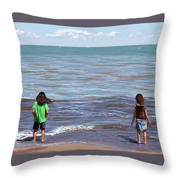 Throw Pillow featuring the painting Getting Their Feet Wet by Shawna Rowe