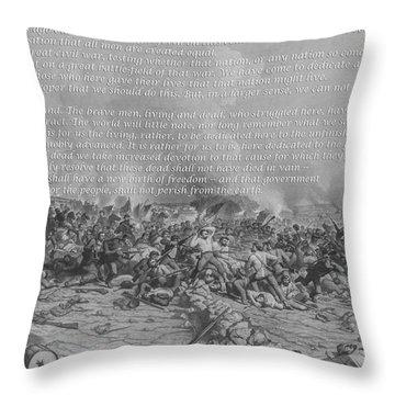 Gettysburg Address Battle Print Throw Pillow