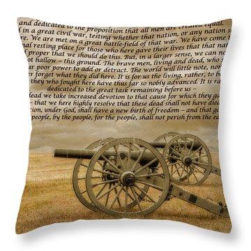 Gettysburg Address Cannon Throw Pillow