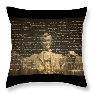 Gettysburg Address Throw Pillow by Diane Diederich