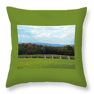 Throw Pillow featuring the photograph Gettysburg Battlefield And Beyond by Emmy Marie Vickers