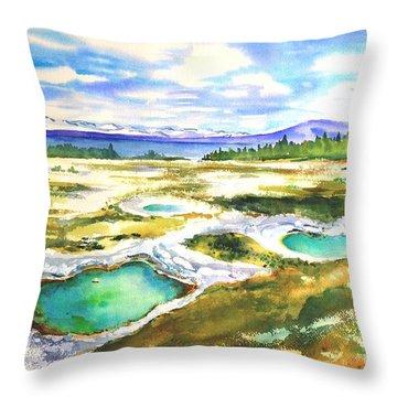 Geyser Basin, Yellowstone Throw Pillow