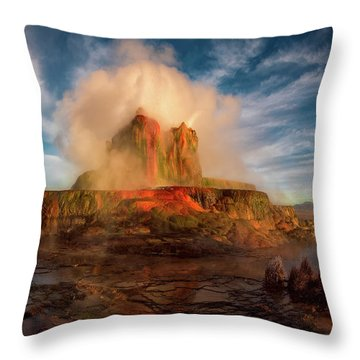 Geyser Steams At Dawn Throw Pillow
