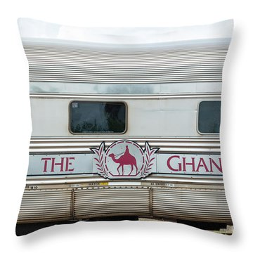 Ghan Train At Alice Springs Throw Pillow