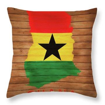 Ghana Rustic Map On Wood Throw Pillow