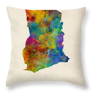 Ghana Watercolor Map Throw Pillow