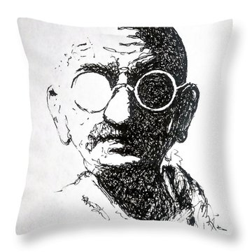 Ghandi Throw Pillow