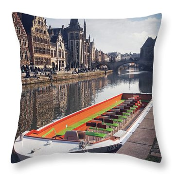 Ghent By Boat Throw Pillow