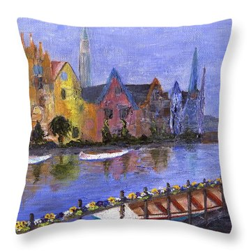 Throw Pillow featuring the painting Ghent by Jamie Frier