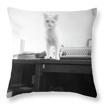Ghost Cat, With Typewriter Throw Pillow
