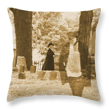 Ghost In The Graveyard Throw Pillow