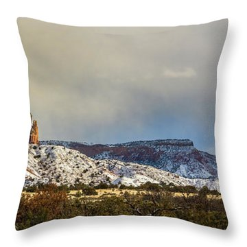 Ghost Ranch In Winter Throw Pillow