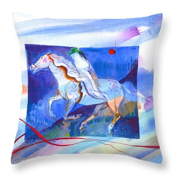 Throw Pillow featuring the painting Ghost Rider by Mary Armstrong