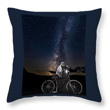 Throw Pillow featuring the photograph Ghost Rider Under The Milky Way. by James Sage