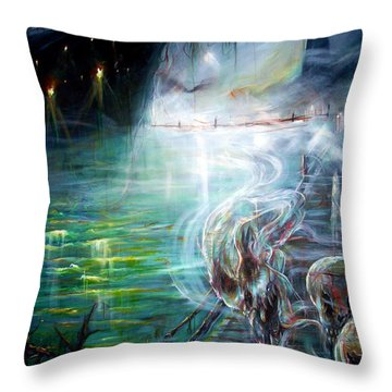 Ghost Ship 2 Throw Pillow by Heather Calderon