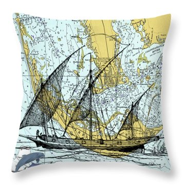 Ghost Ship At Sanibel Throw Pillow