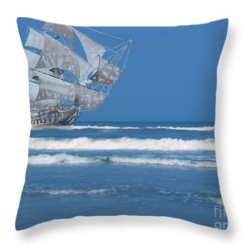 Ghost Ship On The Treasure Coast Throw Pillow
