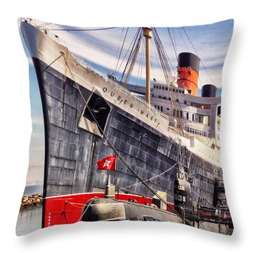 Ghost Ship Queen Mary Throw Pillow