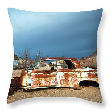 Throw Pillow featuring the photograph Ghost Town Old Car by Catherine Lau