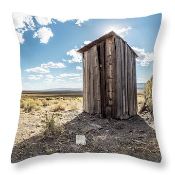 Ghost Town Outhouse Throw Pillow
