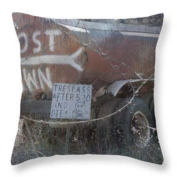 Ghost Town Tanker Throw Pillow by Bill Dutting