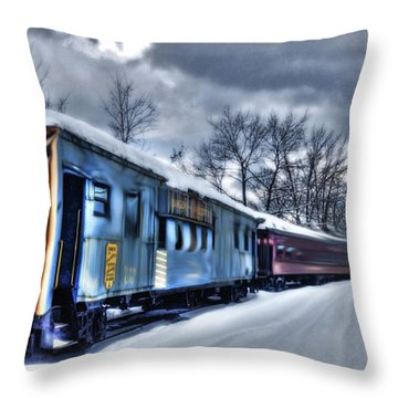 Ghost Train In An Existential Storm Throw Pillow