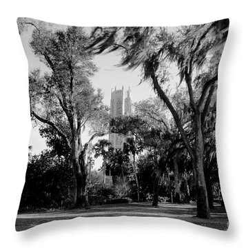 Ghostly Bok Tower Throw Pillow by David Lee Thompson
