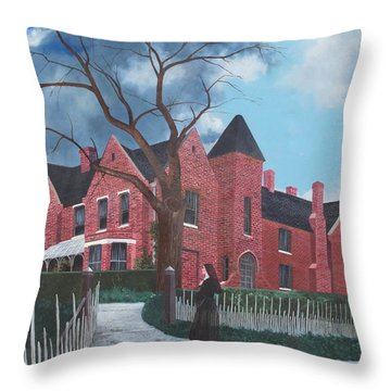 Ghostly Nun Of Borley Rectory Throw Pillow by Barbara Barber