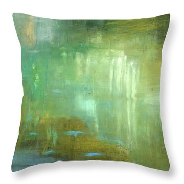 Throw Pillow featuring the painting Ghosts In The Water by Michal Mitak Mahgerefteh