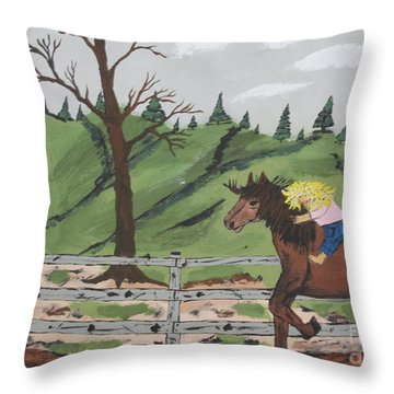 Throw Pillow featuring the painting Gianna Riding  Bareback by Jeffrey Koss