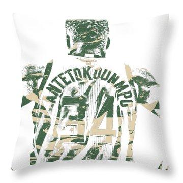 Giannis Antetokounmpo Milwaukee Bucks Pixel Art 22 Throw Pillow