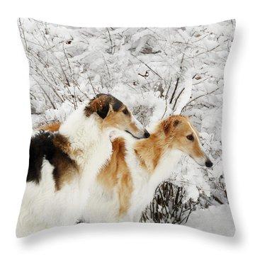 giant Borzoi hounds in winter Throw Pillow