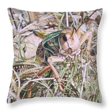 Giant Grasshopper Throw Pillow