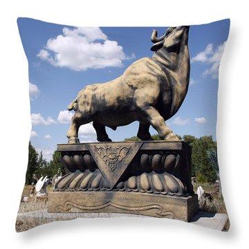 Giant Junk Yard Bull Throw Pillow