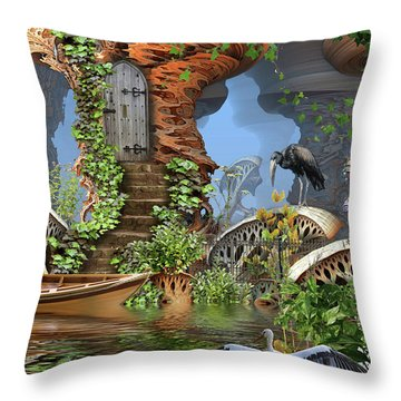 Giant Mushroom Forest Throw Pillow