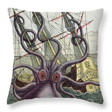 Giant Octopus Throw Pillow by Denys Montfort