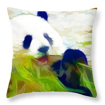 Throw Pillow featuring the painting Giant Panda Bear Eating Bamboo by Lanjee Chee