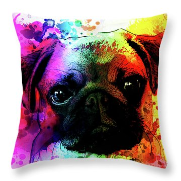 Giant Pug Watercolor Print  Throw Pillow