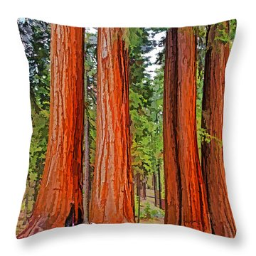 Giant Sequoias Throw Pillow by Dennis Cox