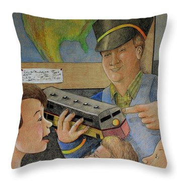 Giant Shows The Toy Train Throw Pillow