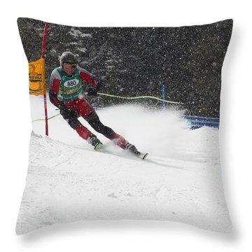 Giant Slalom Racing Throw Pillow
